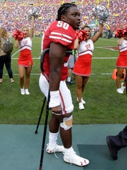 Chris Orr returned to the sideline on crutches after