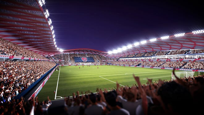 Renderings of a proposed Indy Eleven stadium.