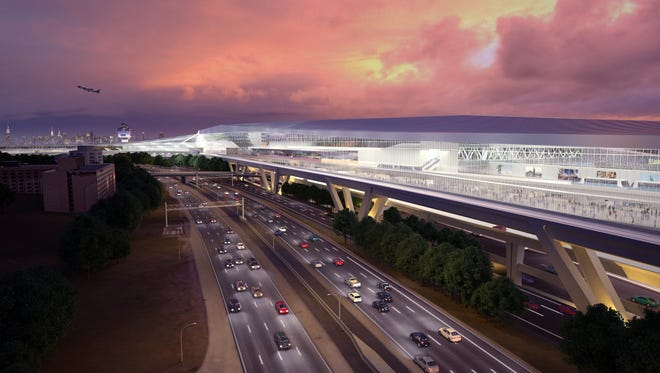 This rendering provided by New York Gov. Andrew Cuomo's office shows the proposed overhaul of New York LaGuardia Airport.