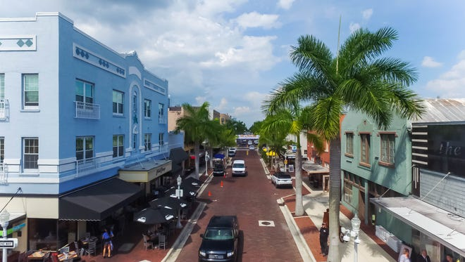 Aerial views of First Street in downtown Fort Myers.