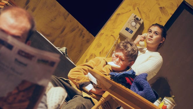 "Ralphie, played by Elijah Fuchs, sucks on soap after saying the F word during a rehearsal of ""A Christmas Story"" by the Fond du Lac Community Theatre. Meanwhile, his mother, played by Cassady Corrigan, calls up the mother of the boy who Ralphie claims taught him the word."