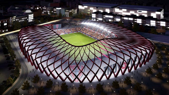 Rendering of stadium proposed by the Indy Eleven, which the team says will cost in excess of $100 million.