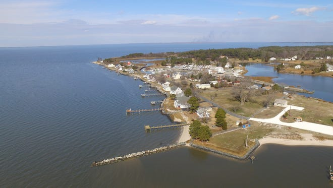 An aerial shows the Chesapeake Bay fishing village of Deal Island in Somerset County.