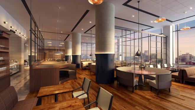 The dining room of Stella Van Buren, the Italian steakhouse at the Westin Hotel opening in June at 550 N. Van Buren St., has a contemporary design.