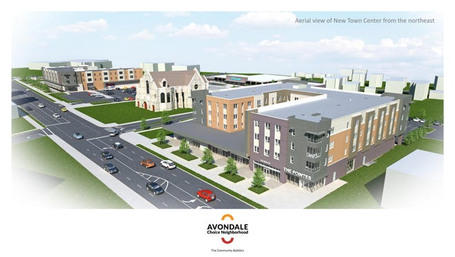 Rendering of the Avondale Town Center, looking south on Reading Road.