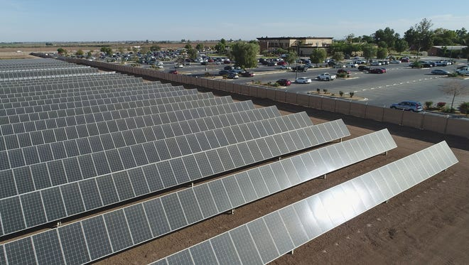 The three-megawatt solar installation adjacent to Imperial Valley College in Imperial, which was developed by Green Light Energy Corp. and ZGlobal.