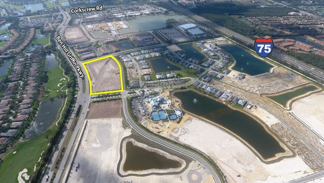 Aerial of 6.4-acre tract sold at University Highlands in Estero.