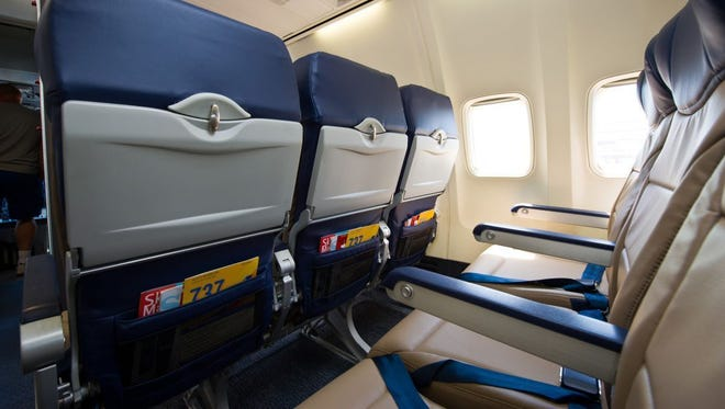 New seats for Southwest Airlines cabins are shown in this undated photo.
