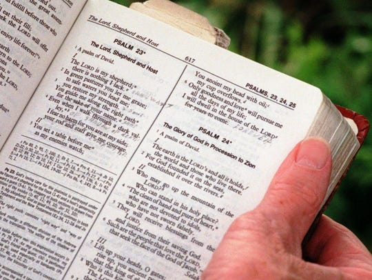 A page of the Bible used by Deacon Frank Bainbridge