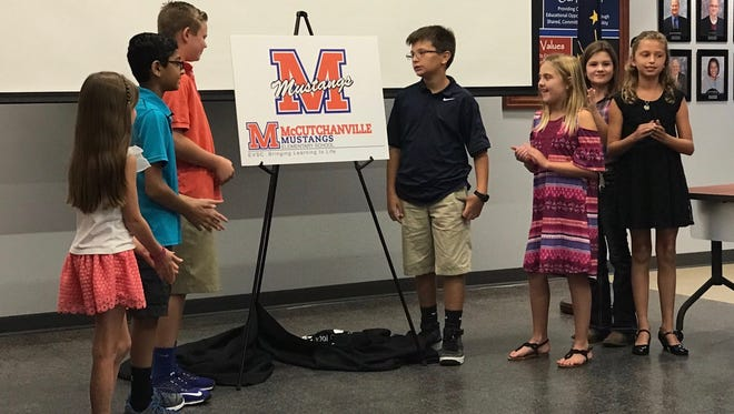 EVSC School Board members learned McCutchanville Elementary  School will be the blue and orange mustangs.