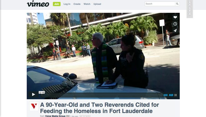 A video by Voice Media Group shows Arnold Abbott, 90, and two ministers being arrested while feeding the homeless in Fort Lauderdale.