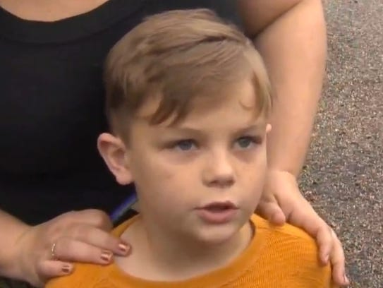 Seven-year-old Jack Swanson gave $20 to the vandalized