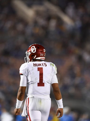 Sep 14, 2019; Pasadena, CA, USA; Oklahoma Sooners quarterback Jalen Hurts (1) looks on during the second half against the UCLA Bruins at Rose Bowl. Mandatory Credit: Kelvin Kuo-USA TODAY Sports