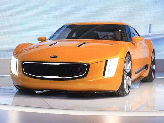 Kia's GT4 Stinger concept car is seen from the front at the 2014 North American International Auto Show
