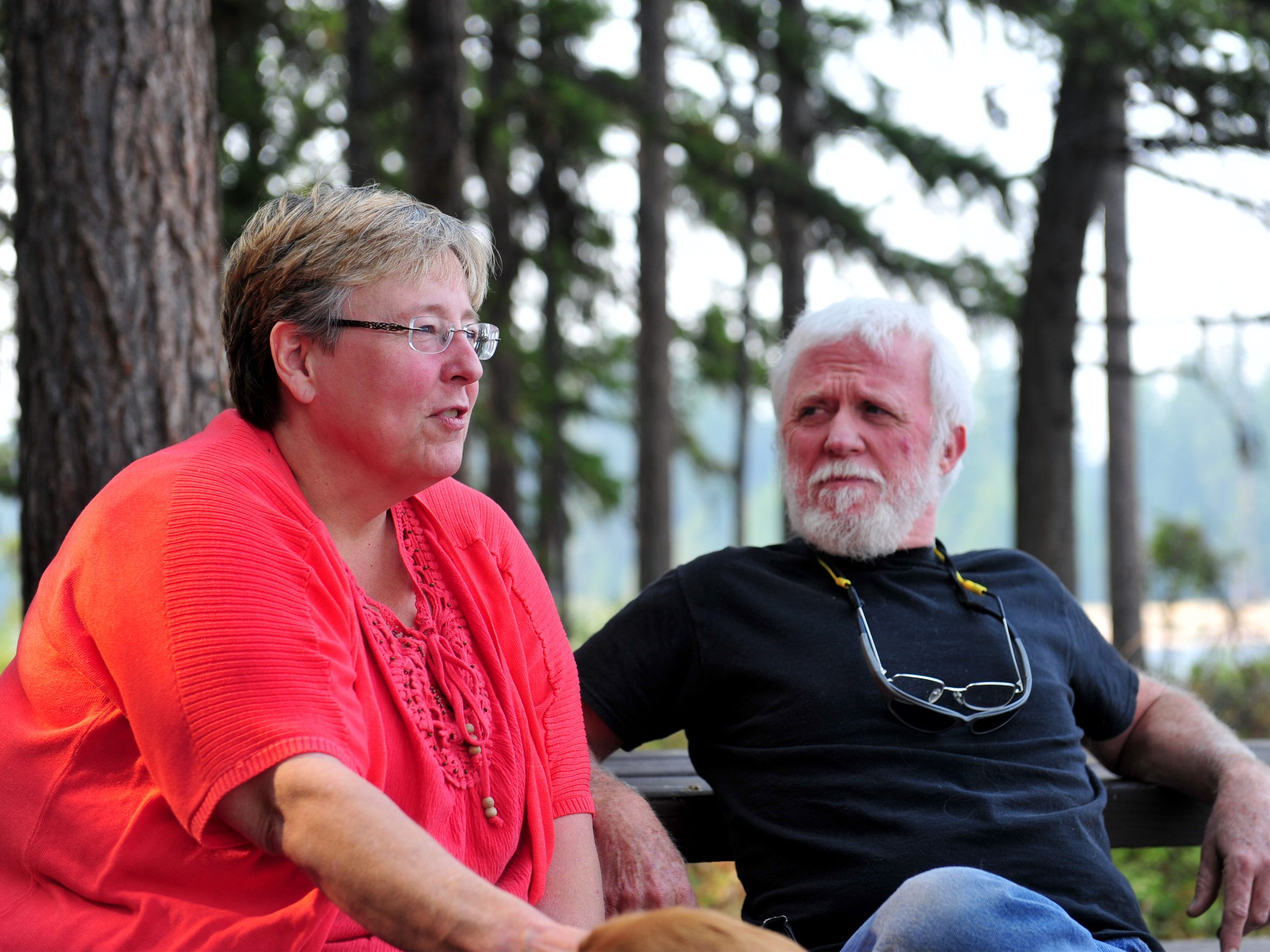 Maxine Ramey and Lloyd Jenkins were evacuated from their home in Seeley Lake due to the Rice Ridge Fire, which continues to threaten the town as it burns in the Lolo National Forest.