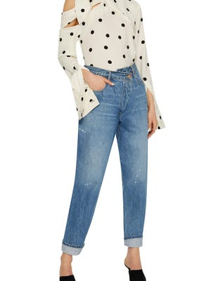 MONSE jeans with tapered fit and asymmetrical waistline, $790, ModaOperandi.com.