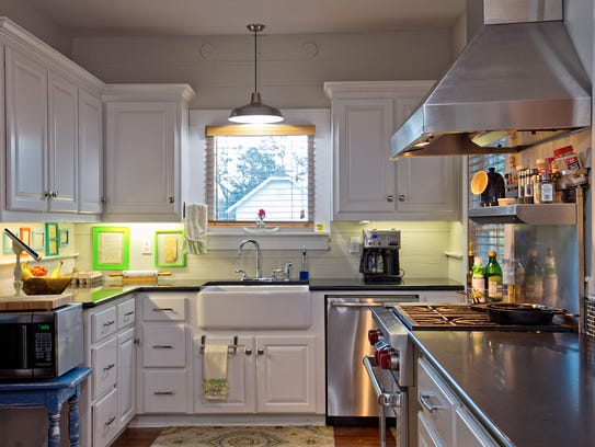 The remodeled kitchen retains much of the original