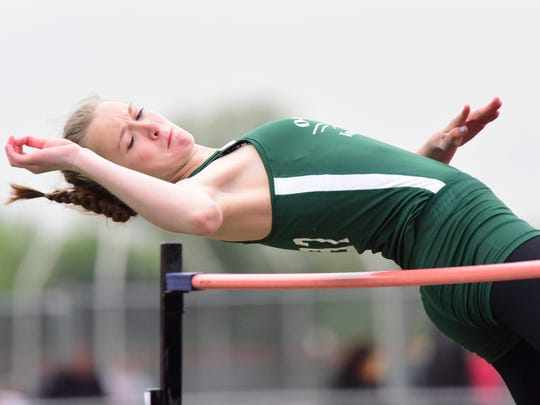 Oak Harbor's Peyton Bloomer qualified to state in the high jump.