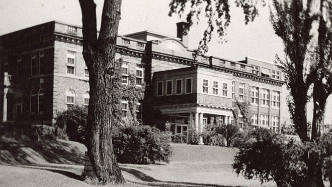 The Neenah hospital, shown here circa 1934, was built in 1909 and was named the Theda Clark Memorial Hospital. Theda made a bequest of $96,000 to help the people of the community. Her brother, Charles Benjamin Clark decided to put the money toward building a hospital.