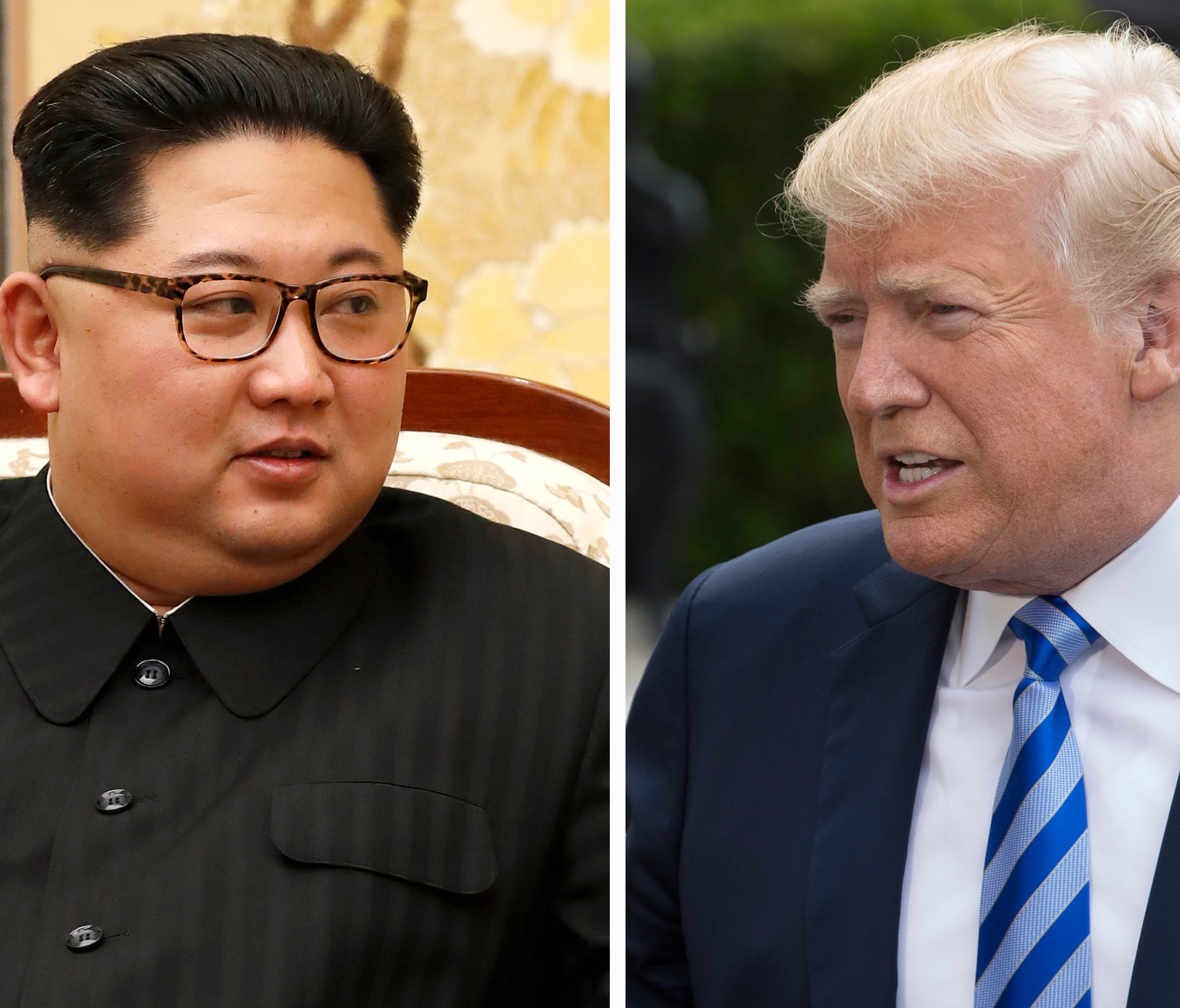 North Korea leader Kim Jong Un (left) and President Trump (right).