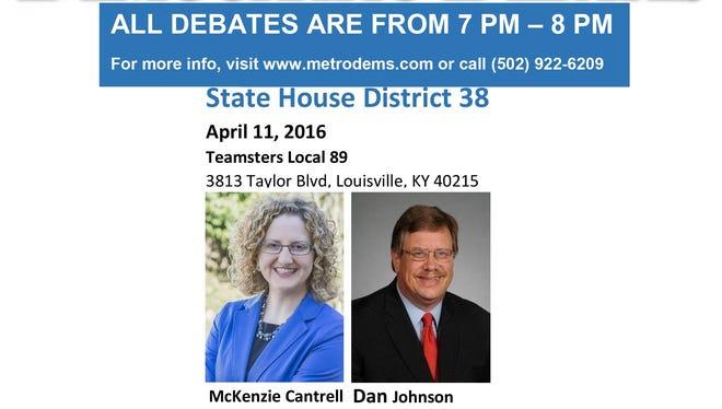 Dan Johnson faces McKenzie Cantrell in the next Metro Democratic Club debate.