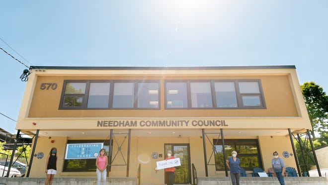 File photo: The Needham Community Council, a non-profit serving under-met health, educational and social needs in Needham. Photo taken as part of the Needham Front Steps Project, a family portrait project started by Needham residents Cara Soulia and Kristen Collins in mid-March.