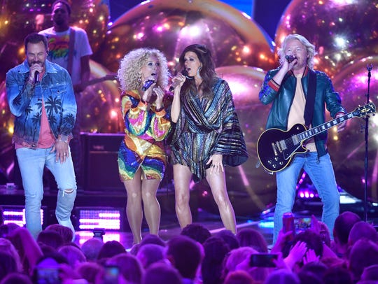 Little Big Town performs oat the 2018 CMT Awards Wednesday,
