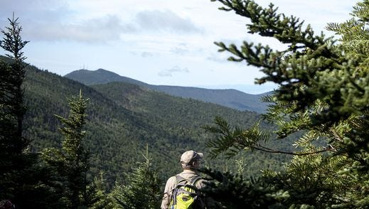 A hiker admires the view along the Black Mountain Crest Trail in Mount Mitchell State Park recently. Clingmans Peak, with communications towers, can be seen in the distance.