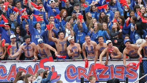 Carmel fans are pictured during the 2014 football game against Mahopac at Carmel High School. Carmel will host Mahopac at 6 p.m. on Sept. 16, 2016 in the first night game between the rivals at Carmel since 2005.