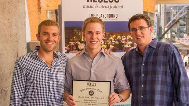 """Recess founders Deuce Thevenow (left), 27, Greenwood, and Jack Shannon (right), 28, Western Springs, Ill., congratulate 2014 """"pitch"""" winner Max Brickman in Las Vegas. Brickman, 23, won $10,000 for his idea to produce a cheat prevention privacy screen for Scantron tests, which he calls CleanSlate."""