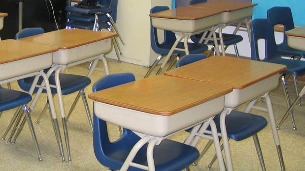 An empty school classroom.