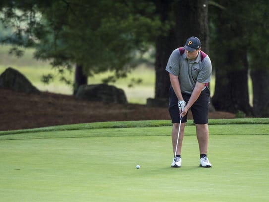 Jim Smith of Shippensburg tries to sink a putt earlier