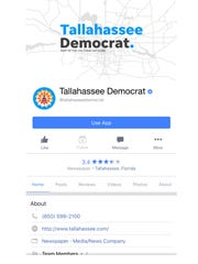 Tallahassee Democrat Facebook page on mobile.