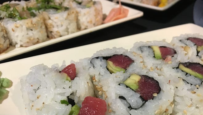 The Tuna Crave roll (front) and Hoppin Hamachi from How Do You Roll?
