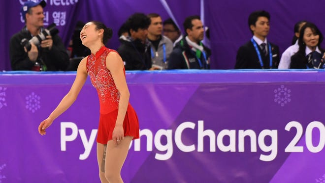Mirai Nagasu (USA) competes in the women's free skate program.