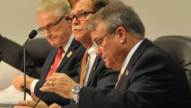 From left, Canaveral Port Authority Secretary/Treasurer Jerry Allender, Chairman Tom Weinberg and  Commissioner Bob Harvey  were key participants in Wednesday's discussion of the cargo rail issue.