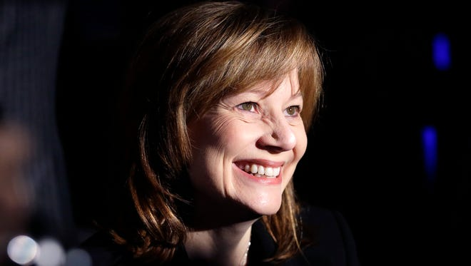 General Motors CEO Mary Barra at the awards ceremony for the North Americans Car and Truck of the Year awards at the Detroit Auto Show on Monday. GM won both with Chevrolet's Corvette sports car and Silverado pickup.