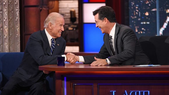 """Vice President Joe Biden openly discussed grief, the loss of his son Beau Biden, and his deliberations about another presidential campaign during an interview with Stephen Colbert on """"The Late Show"""" on Thursday."""