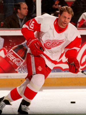 Detroit Red Wings' Vladimir Konstantinov on the ice at Joe Louis Arena before the Ottawa Senators game April 11, 1997.