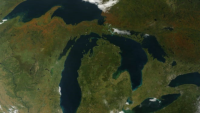 Michigan and the Great Lakes, as photographed by NASA's Terra satellite.