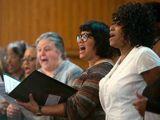 Members of the Knoxville Opera Gospel Choir, From right,