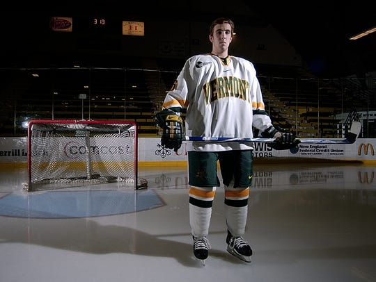 Ryan Gunderson of the UVM men's hockey team in Burlington on Tuesday December 5, 2006.