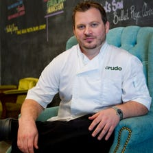 Chef Cullen Campbell in his restaurant Crudo in Phoenix.