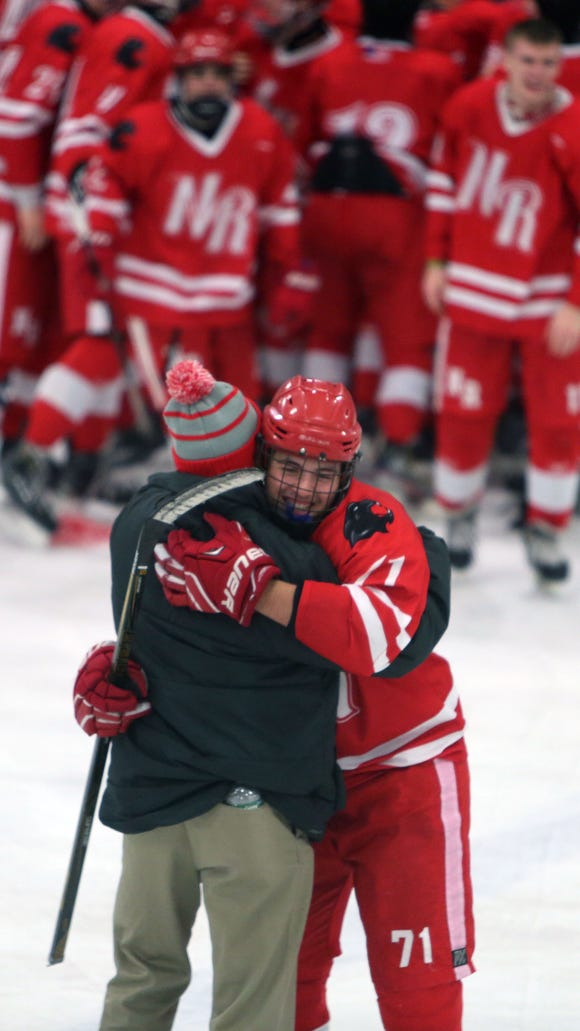 North Rockland defeated Suffern 3-2 and clinched the Section 1 hockey championship at Brewster Ice Arena Feb. 24, 2018.