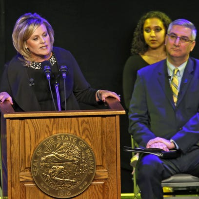 Jennifer McCormick speaks after being sworn in as Indiana's