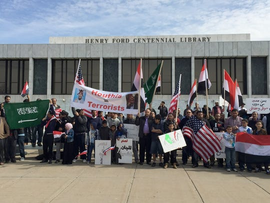 "Yemeni Americans hold a rally on April 25 outside the Henry Ford Centennial Library in Dearborn over the war in Yemen, condemning attacks by Houthi rebels. They are holding Saudi, Yemeni, and American flags. One banner reads ""Houthis =T errorists."" The rally was more pro-Saudi Arabia, and anti Houthi."