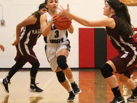 Janessa Melendrez tries to get a pass off while being guarded by Jaydin Stephens.