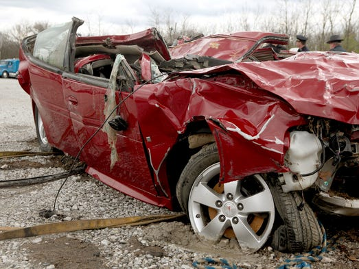 The Pontiac Grand Prix recovered from the Ohio River