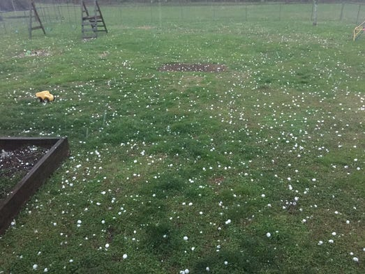 Hail in Lewisburg during a severe weather storm. Tuesday,