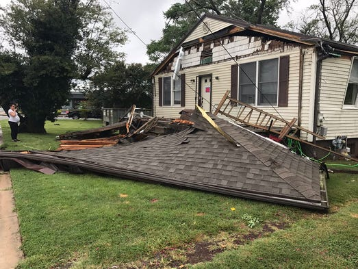 Damage from a possible tornado Monday, Aug. 7 in Salisbury.